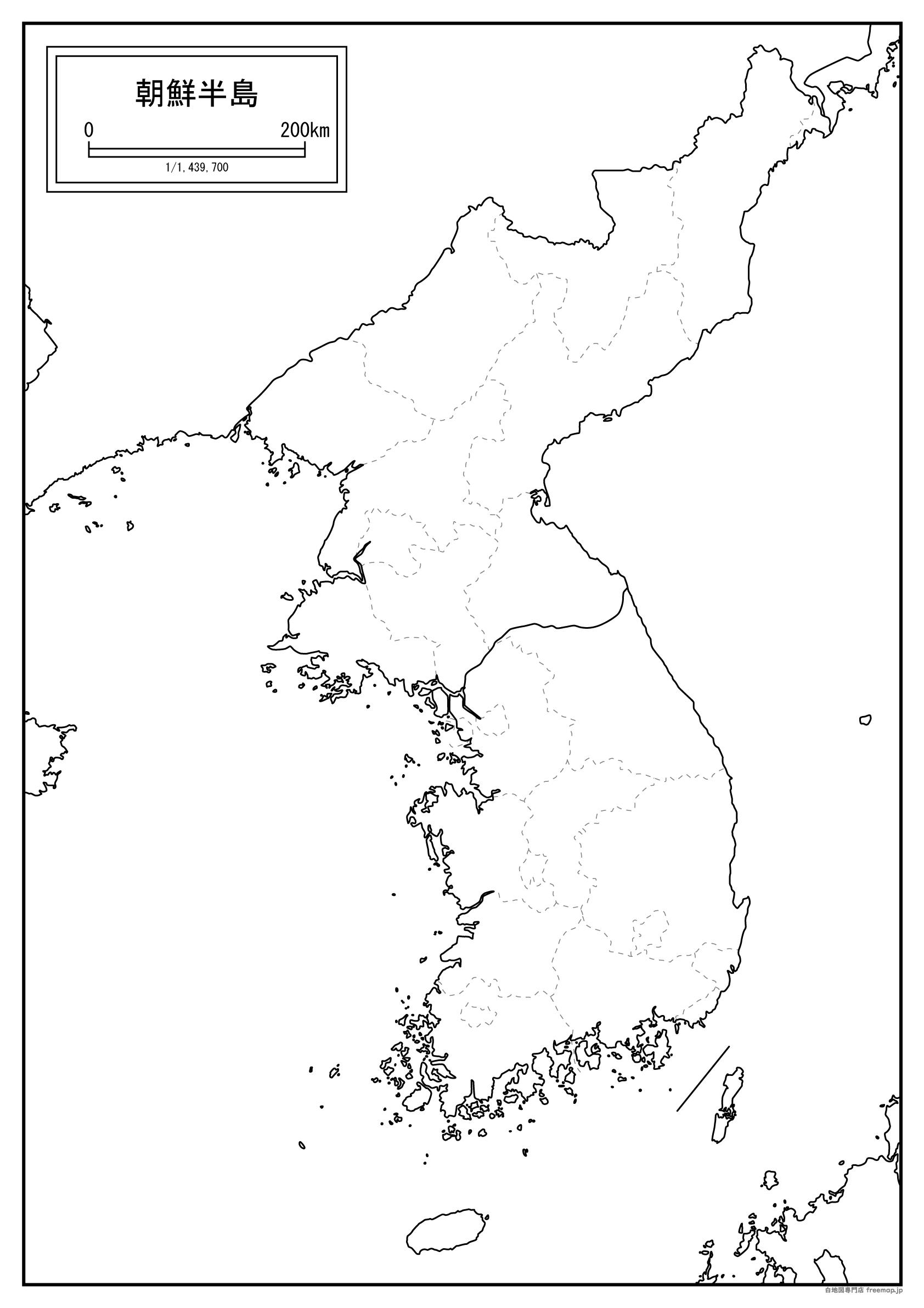 朝鮮半島の白地図を無料ダウンロード | 白地図専門店