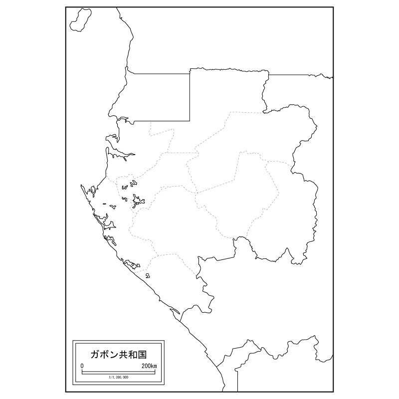 Map Of Gabon Blank Map Speciality Shop In Japan - Gabon blank map