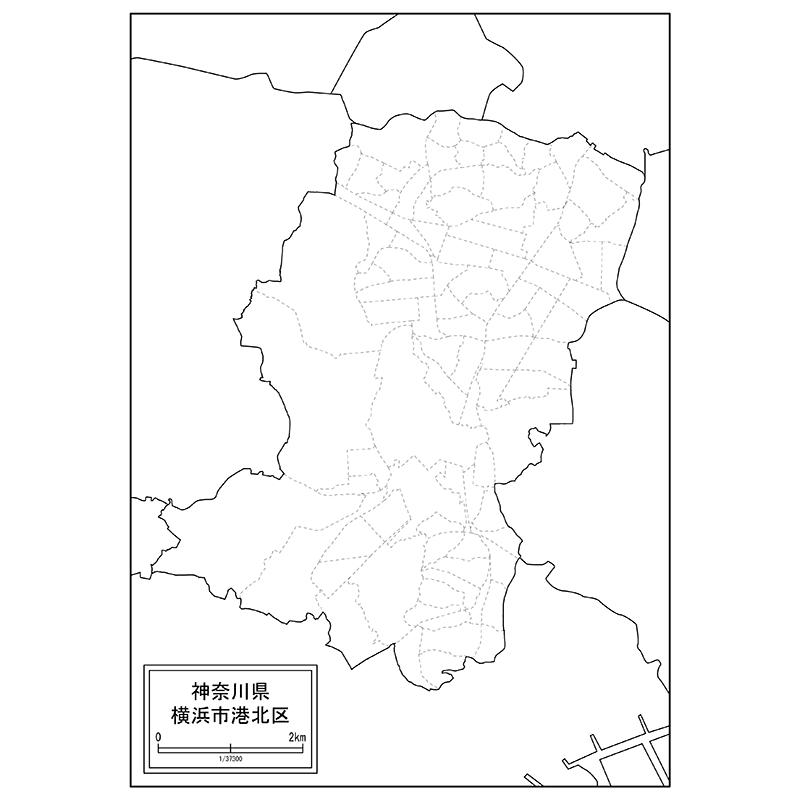 横浜市港北区の白地図 | 白地図専門店