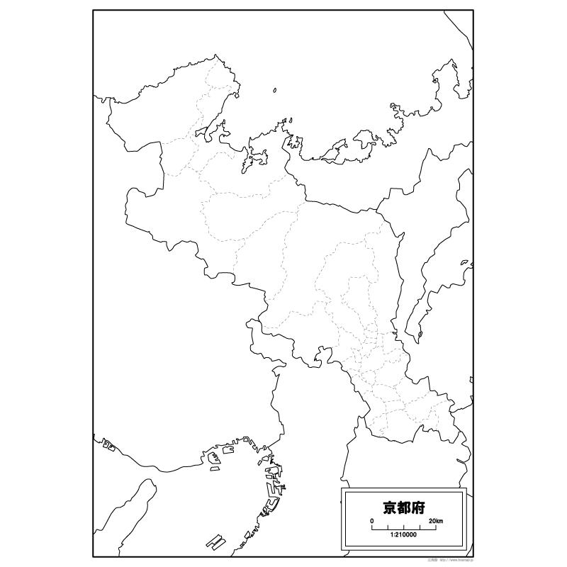 京都府の白地図   白地図専門店