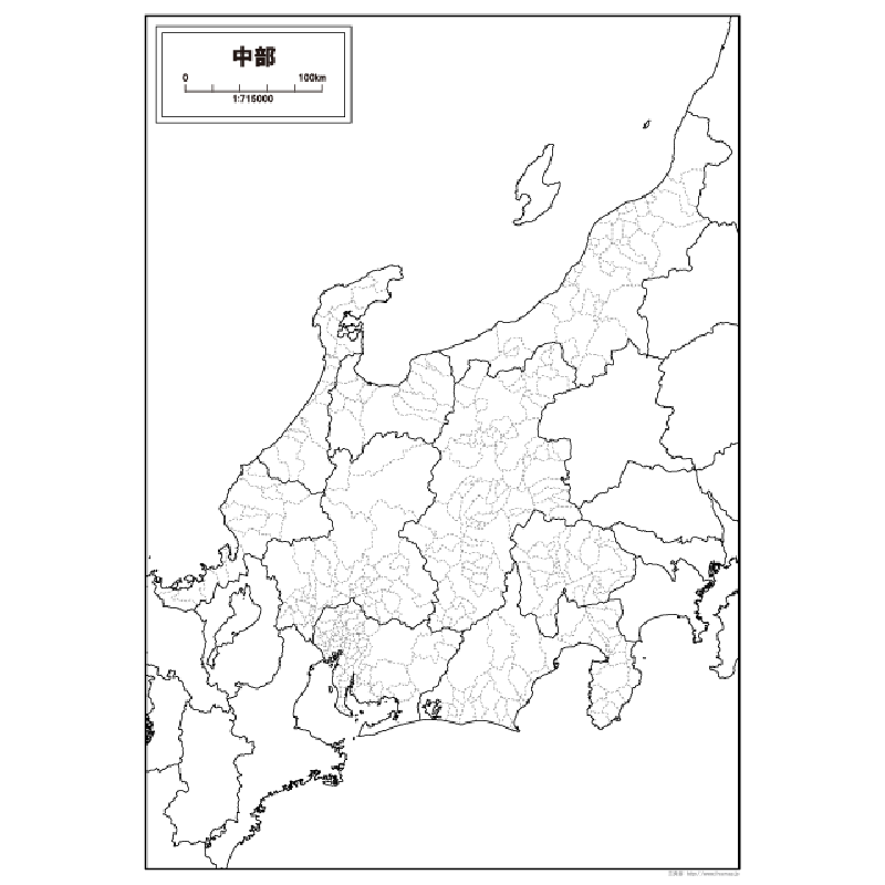 中部地方の白地図 白地図専門店