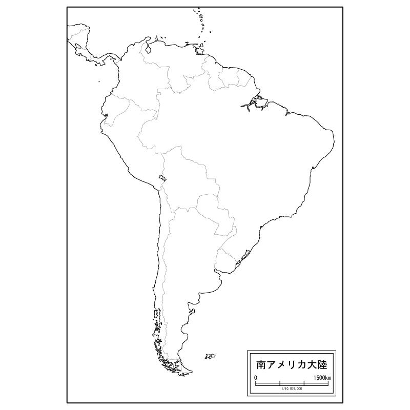 南アメリカ大陸の白地図のサムネイル