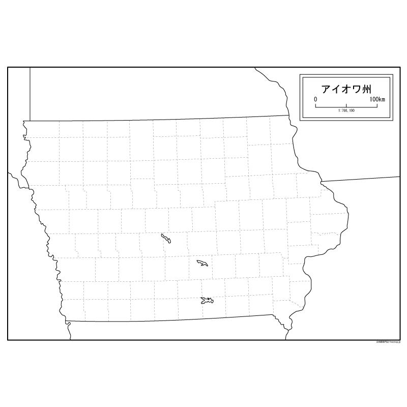 アイオワ州の地図 | 白地図専門店