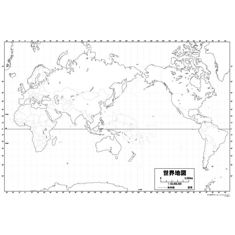 世界地図の白地図のサムネイル